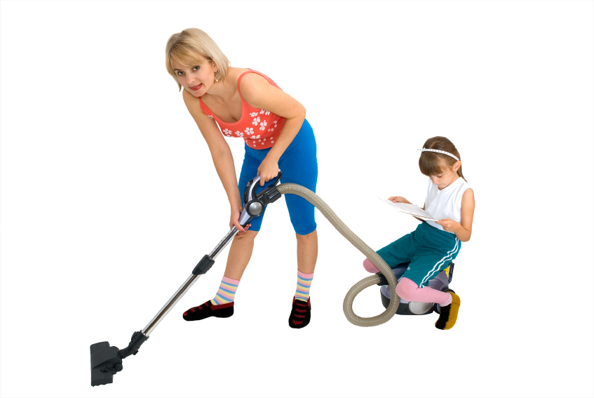 Mum, daughter and a vacuum cleaner